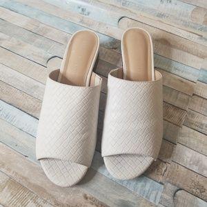 white checkered sandals